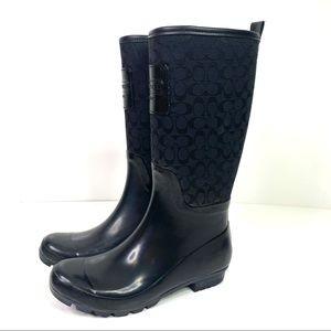 Coach | Black Logo Pearl Rain Boots Size 8